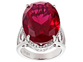 Pre-Owned Red Lab Created Ruby Rhodium Over Silver Ring 22.93ctw