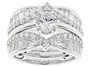 Pre-Owned White Cubic Zirconia Rhodium Over Sterling Silver Ring With Guard 4.69ctw