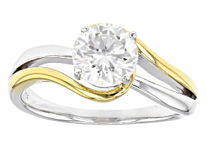 Pre-Owned Moissanite Platineve And 14k Yellow Gold Two Tone Ring e 1.20ct DEW.