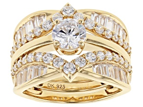 Pre-Owned White Cubic Zirconia 18k Yellow Gold Over Sterling Silver Ring with Guard 4.69ctw