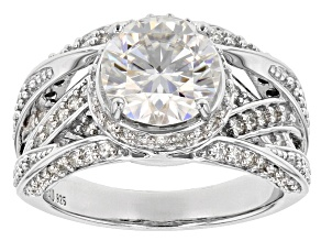 Pre-Owned Moissanite Platineve ring 3.32ctw DEW.