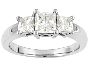 Pre-Owned Womens Princess Cut 3-Stone Ring White Moissanite 1.60ctw Platineve
