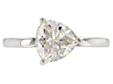 Pre-Owned White Fabulite Strontium Titanate rhodium over sterling silver ring 1.89ct
