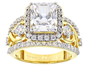 Pre-Owned White Cubic Zirconia 18k Yellow Gold Over Sterling Silver Ring 8.03ctw