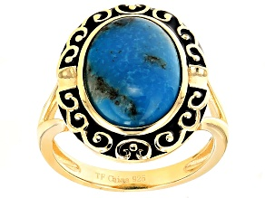Pre-Owned Blue Turquoise 18k Yellow Gold Over Sterling Silver Ring