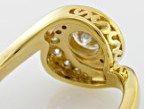 Pre-Owned Moissanite 14k Yellow Gold Over Silver Ring 1.12ctw D.E.W