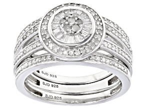 Pre-Owned White Diamond Rhodium Over Sterling Silver Ring With Matching Bands 0.50ctw