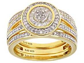Pre-Owned White Diamond 14K Yellow Gold Over Sterling Silver Ring With Matching Bands 0.50ctw