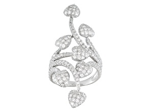Pre-Owned Cubic Zirconia Rhodium Over Sterling Silver Heart Ring 2.28ctw (1.56ctw DEW)
