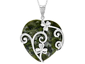 Pre-Owned Connemara Marble Sterling Silver Heart Vine Pendant With Chain
