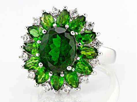 Pre-Owned  Chrome Diopside Rhodium Over Sterling Silver Ring 5.64ctw