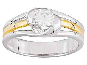 Pre-Owned Moissanite Platineve And 14k Yellow Gold Over Silver Ring .33ctw DEW