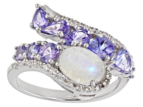Pre-Owned White Rainbow Moonstone Rhodium Over Sterling Silver Ring 1.51ctw