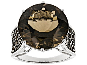 Pre-Owned Brown Smoky Quartz Rhodium Over Sterling Silver Ring 12.61ctw