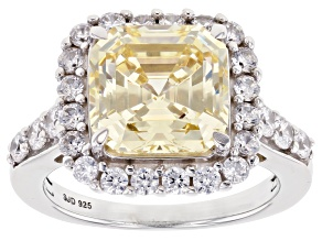 Pre-Owned Yellow and White Cubic Zirconia Asscher Cut Rhodium Over Sterling Silver Ring 10.03ctw