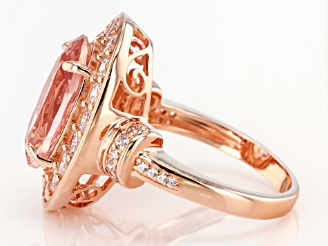 Pre-Owned Peach Morganite Simulant and White Cubic Zirconia 18k Rose Gold Over Sterling Silver Ring