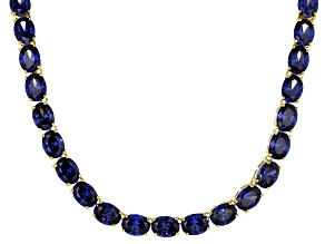 Pre-Owned Bella Luce® 96.66ctw Oval Tanzanite Simulant 18k Gold Over Silver Necklace