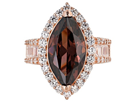 Pre-Owned Blush & White Cubic Zirconia 18K Rose Gold Over Sterling Silver Center Design Ring 12.29ct