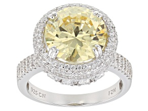 Pre-Owned Yellow & White Cubic Zirconia Rhodium Over Sterling Silver Center Design Ring 12.62ctw