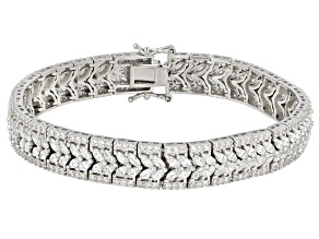 Pre-Owned White Cubic Zirconia Rhodium Over Sterling Silver Bracelet 23.62ctw