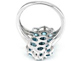 Pre-Owned Blue zircon rhodium over silver ring 4.84ctw