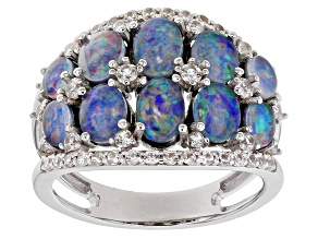 Pre-Owned Multi-color Australian Opal Triplet Rhodium Over Silver Ring .76ctw