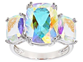 Pre-Owned Multi-color Mercury Mist® Topaz Rhodium Over Sterling Silver Ring 11.73ctw