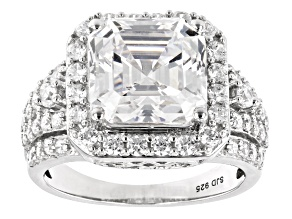 Pre-Owned White Cubic Zirconia Asscher Cut And Round Rhodium Over Sterling Silver Ring 10.63ctw