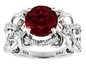 Pre-Owned Red lab created ruby rhodium over sterling silver ring 3.66ctw