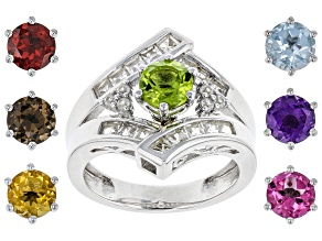 Pre-Owned Mixed Interchangeable Gems Rhodium Over Silver Ring Set 6.11ctw