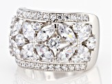 Pre-Owned White Cubic Zirconia Rhodium Over Sterling Silver Floral Ring 6.00ctw.