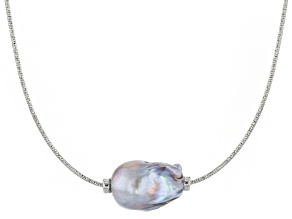 Pre-Owned Genusis™ 14-16mm Silver Cultured Freshwater Pearl Rhodium over Sterling Silver Necklace