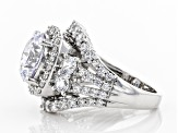 Pre-Owned White Cubic Zirconia Rhodium Over Sterling Silver Ring 10.40ctw