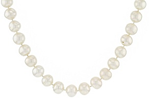 Pre-Owned White Cultured Freshwater Pearl Rhodium Over Sterling Silver Strand Necklace