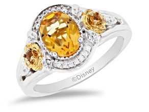 Pre-Owned Enchanted Disney Belle Ring Citrine And Diamond Rhodium And 14K Yellow Gold Over Silver 1.