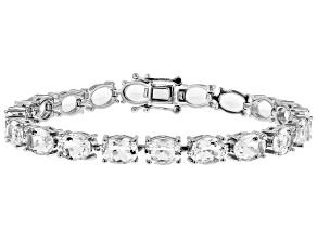 Pre-Owned White crystal quartz rhodium over sterling silver bracelet 19.09ctw