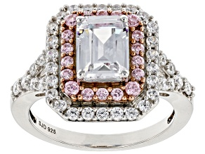Pre-Owned Pink and White Cubic Zirocnia Rhodium Over Sterling Silver Ring 4.30ctw