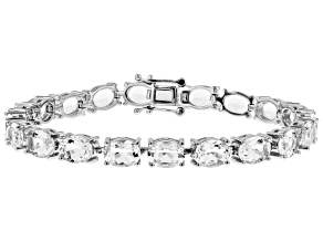 Pre-Owned White crystal quartz rhodium over sterling silver bracelet 19.09ctw