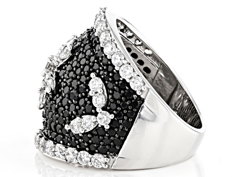 Pre-Owned Black Spinel and White Cubic Zirconia Rhodium Over Sterling Silver Ring 5.70ctw