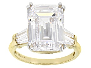 Pre-Owned White Cubic Zirconia 18K Yellow Gold Over Sterling Silver Ring 12.98ctw