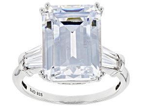 Pre-Owned White Cubic Zirconia Rhodium Over Sterling Silver Ring 12.98ctw