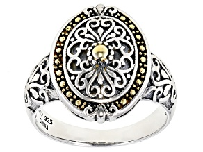 Pre-Owned Rhodium Over Sterling Silver With 14K Yellow Gold Accent Plating Ring