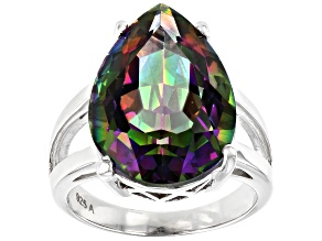 Pre-Owned Multi Color Quartz Rhodium Over Sterling Silver Ring  11.00ctw