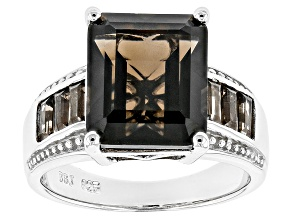 Pre-Owned Brown Smoky Quartz Rhodium Over Sterling Silver Ring 6.58ctw