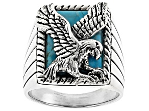 Pre-Owned Blue Turquoise Sterling Silver Mens Eagle Ring