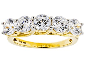 Pre-Owned Heritage Cut White Zirconia From Swarovski ® 18k Yellow Gold Over Sterling Silver Ring 4.4