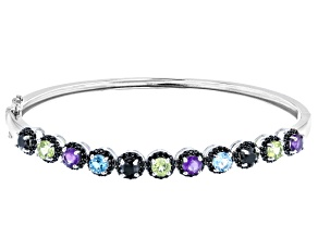 Pre-Owned Multi-Color Gemstone Rhodium Over Silver Bracelet 3.24ctw