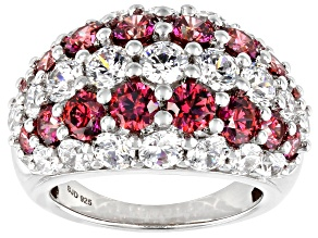 Pre-Owned Red and White Zirconia From Swarovski ® Rhodium Over Sterling Silver Ring 12.18ctw