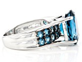 Pre-Owned Blue topaz rhodium over sterling silver ring 6.04ctw