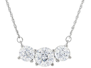 Pre-Owned Heritage Cut Zirconia From Swarovski ® Rhodium Over Sterling Silver Necklace 13.90ctw